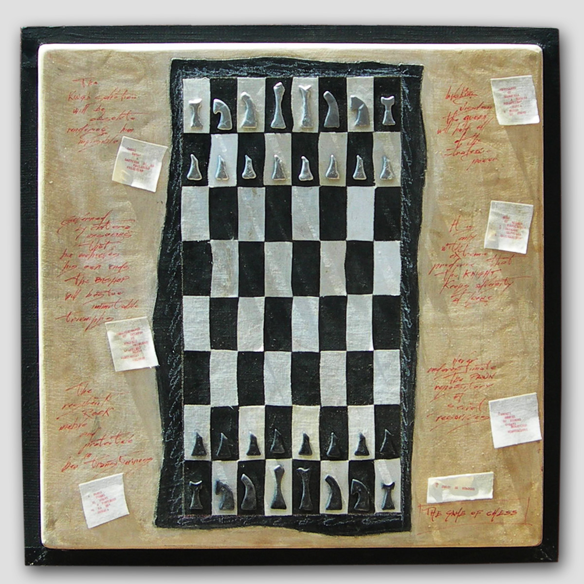 008-PRO-JECTUS (the game of chess/ù juocu di scacchi) -2012  -tecnica mista su legno  -75x75 cm.