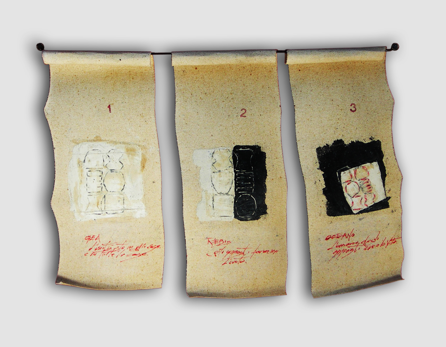 023-DISEGNO VOLANTE (triptych)  -2013  -mixed media on canvas  -44x30 cm. variable