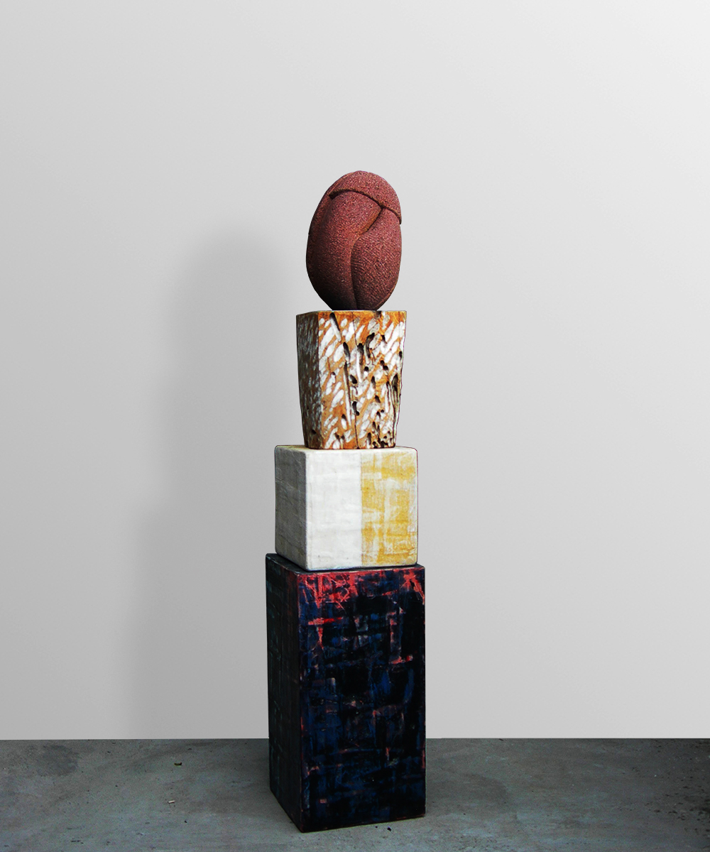 2) 339-HOMO    -2020 volcanic stone| wood| cotton| pigment| beeswax| lead 117 x 23 x 23 cm