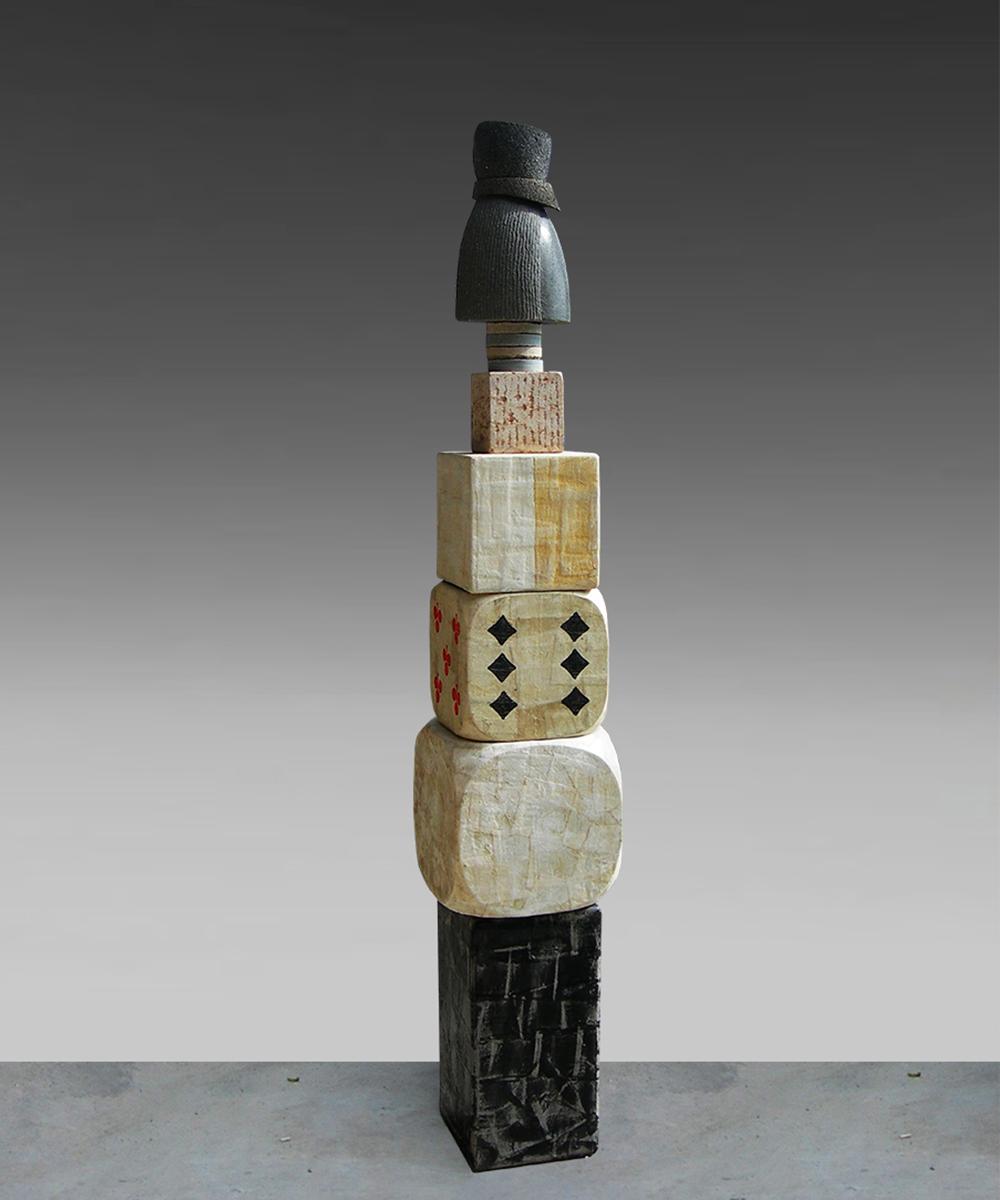 328-HOMO - 2020 - basalto| pietra vulcanica| legno| marmo|calcare| cotone| pigmento| cera d'api 163 x 27 x 27 cm