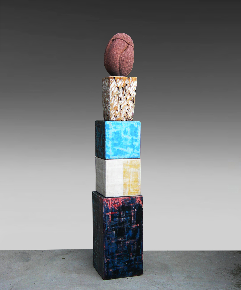 3) 339 -HOMO - 2020 - pietra vulcanica| legno| cotone| pigmento| cera d'api| piombo 137 x 23 23 cm