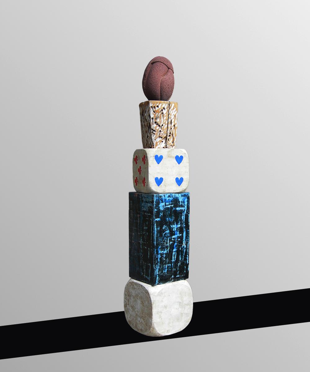 4) 339-HOMO    -2020 volcanic stone| wood| cotton| pigment| beeswax| lead 145 x 27 x 27 cm