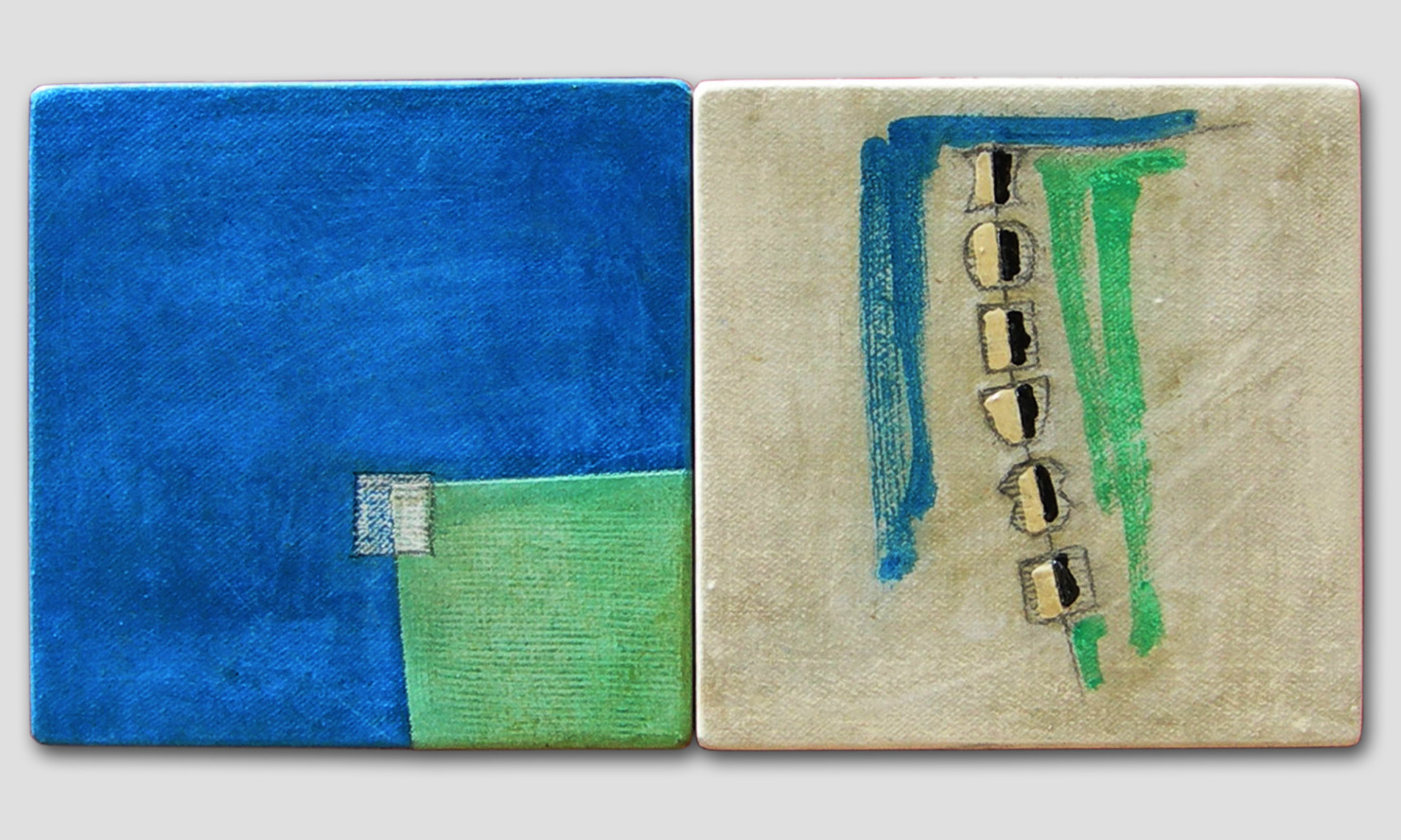 039-REBIS (diptych)  -TOTEM bidimensionale -2011 .mixed media on canvas panel -30 x 60 cm.