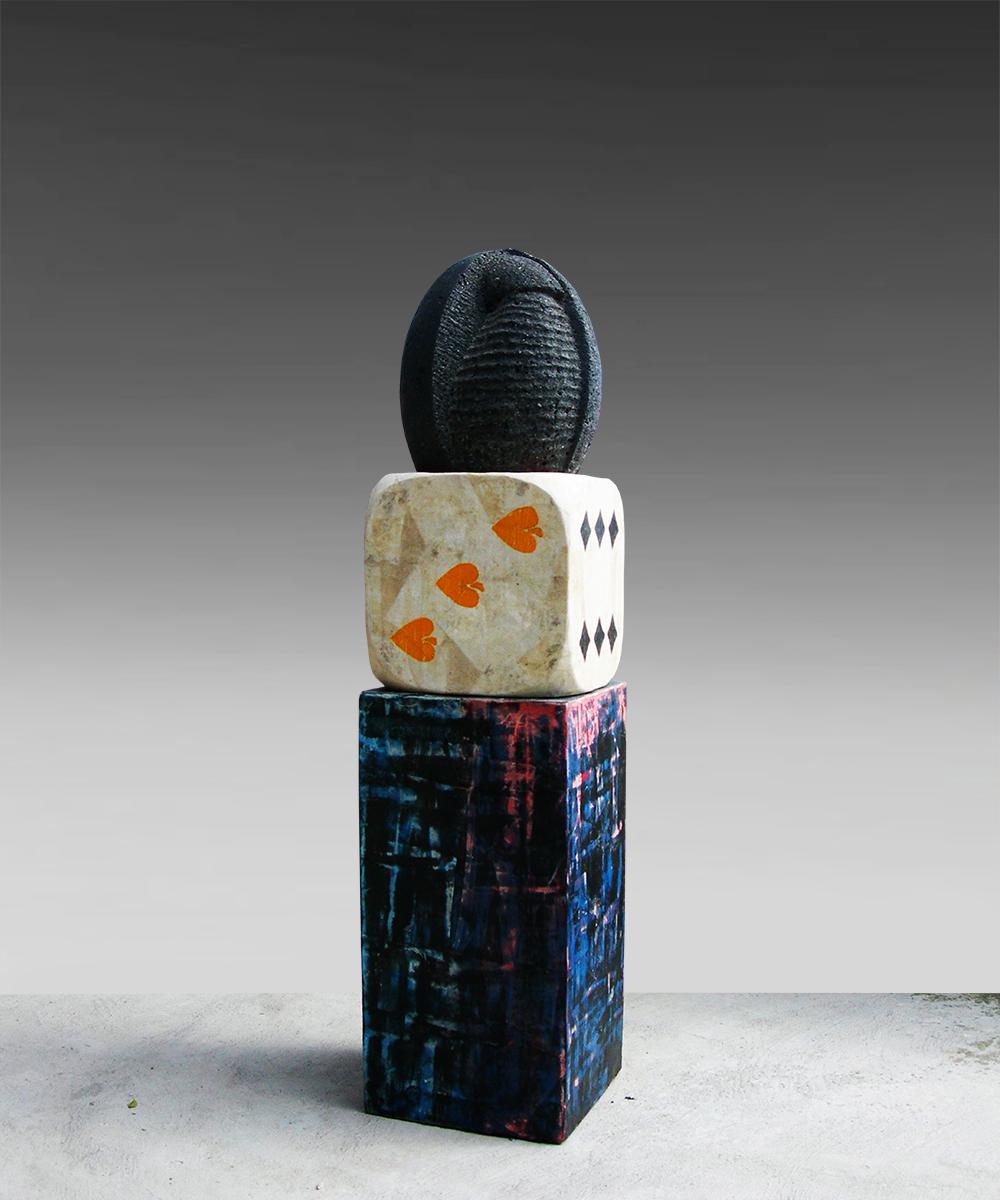 1) 334-HOMO - 2020 - volcanic stone| wood| cotton| pigment| beeswax 93 x 23 23 cm