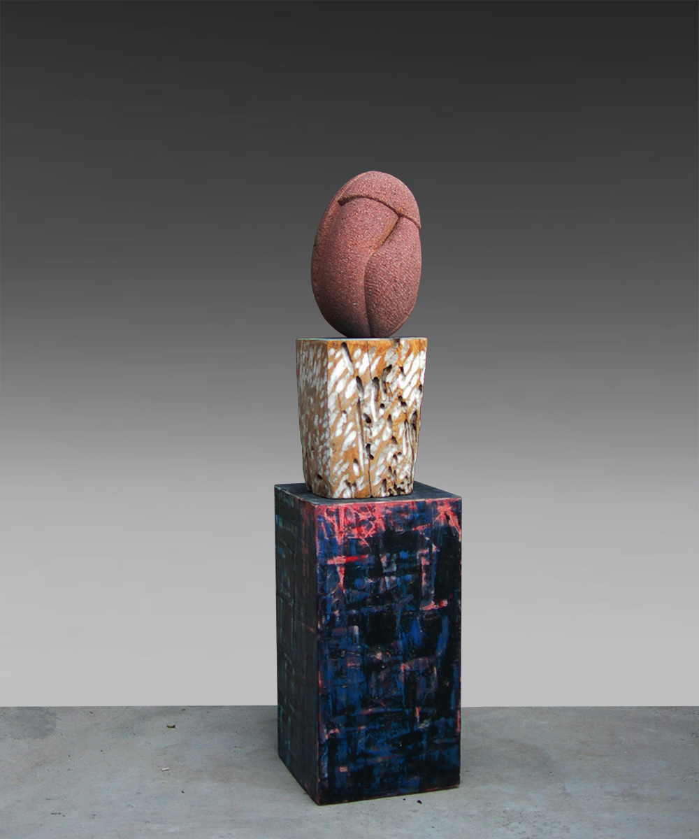 1) 339-HOMO - 2020 - volcanic stone| wood| cotton| pigment| beeswax| lead 96 x 23 x 23 cm