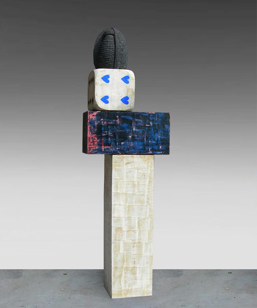2) 334-HOMO - 2020 - volcanic stone| wood| cotton| pigment| beeswax 150 x 64 x 23 cm
