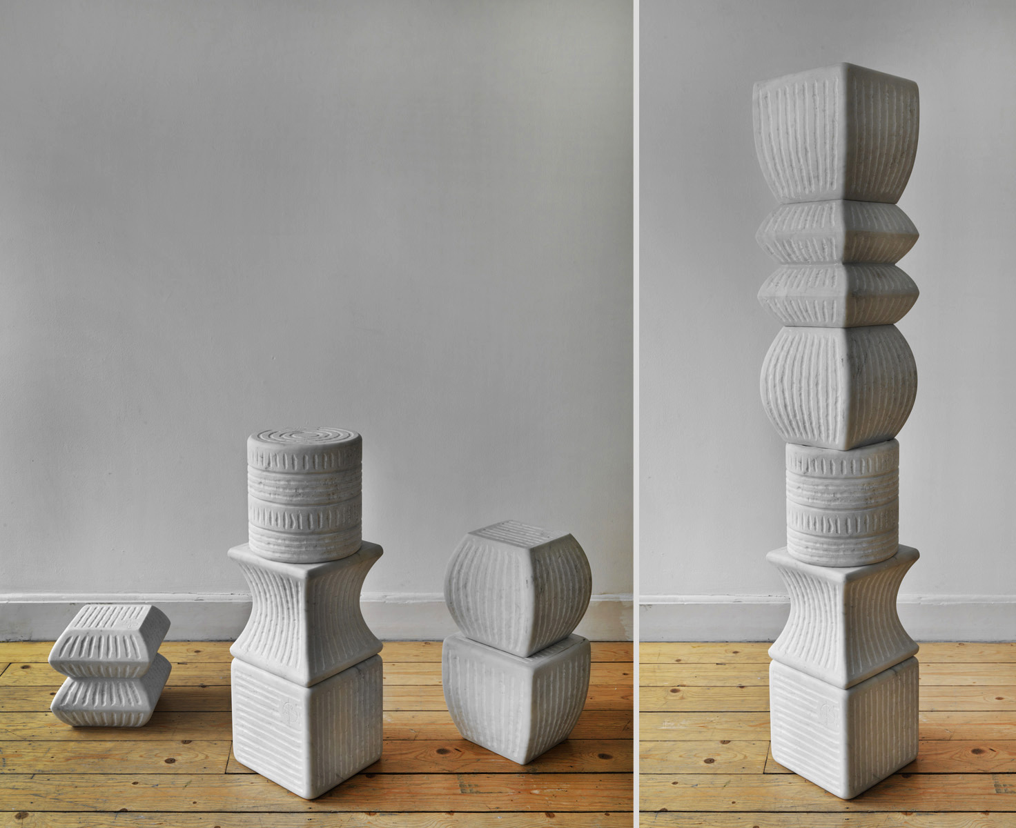285-TOTEM  -2007  -marmo bianco Carrara  -H= 150 cm.