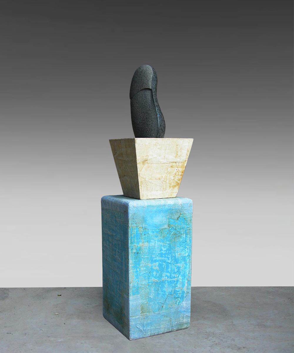 333-HOMO - 2020 basalt| wood| cotton| pigment| beeswax 92 x 23 x 23 cm