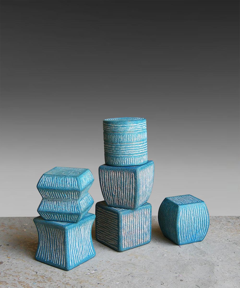 350-TOTEM - 2021 - linestone Santafiore  pigment  beeswax H= 49 cm